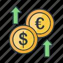 decrease, dollar, euro, finance, growth, money