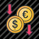 currency, decrease, dollar, drop, euro, finance, money