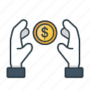 business, currency, dollar, finance, hand, money, received icon