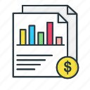 analytics, bar, chart, currency, document, finance, report