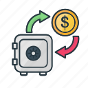 bank, business, dollar, finance, money, safe, secured icon