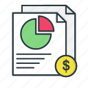 analytics, chart, currency, document, finance, pie, report