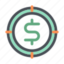 business, company, dollar, finance, money, opportunity, target icon