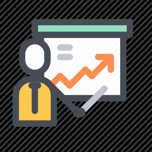 business, businessman, company, finance, meeting, presentation, strategy icon