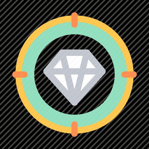 business, company, diamond, finance, gem, opportunity, target icon