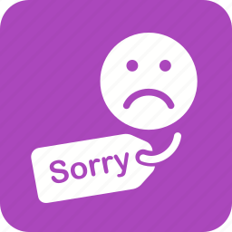 apology, customer, hanging, letter, notice, sorry, tag icon