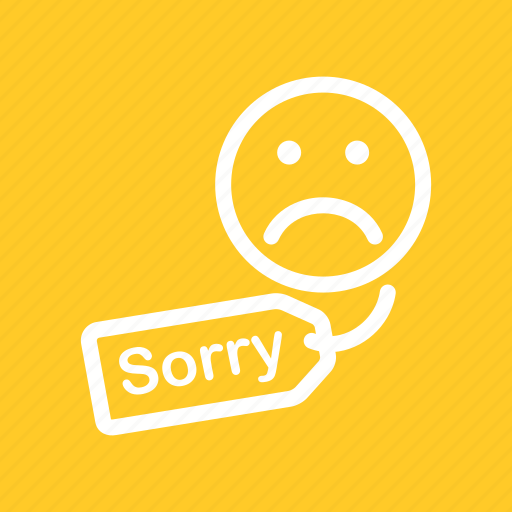apology, customer, hanging, letter, notice, sorry icon