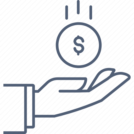 coin, earning, earnings, hand, money icon