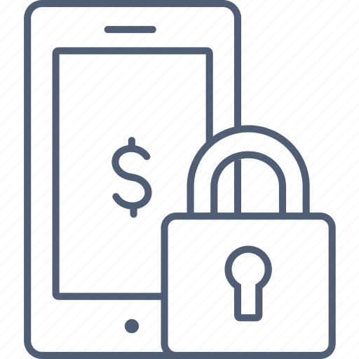 Mobile, payment, secure, lock, safe, phone icon