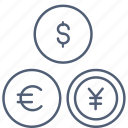 currencies, currency, dollar, euro, exchange icon