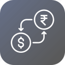 conversion, currency, dollar, exchange, indian, money, rupee icon