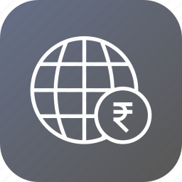 business, currency, expansion, globe, money, rupee icon