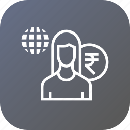 avatar, business, employee, female, finance, person, salary icon