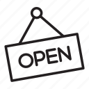 come in, hello, open, sign, store icon