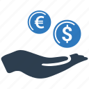 cash, coin, hand, income, investment, money, revenue icon