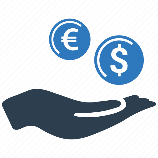 cash, coin, hand, income, investment, money, revenue icon