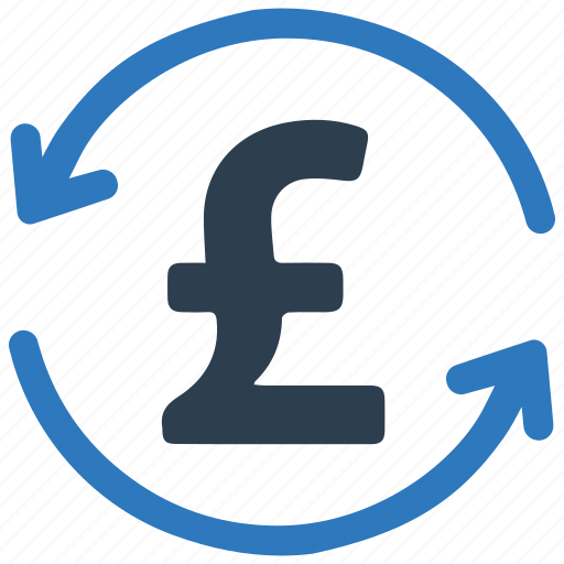 conversion, exchange, money, payback, pound, refund, repayment icon