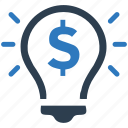 bulb, business, dollar, finance, money icon
