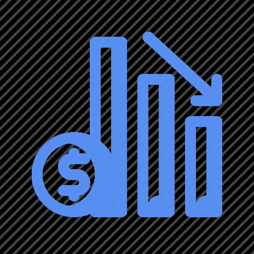 analytics, business, company, costs, finance, loss, money icon