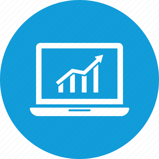 desktop, growth chart, imac, laptop, market growth, office growth, sales growth icon