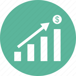 bar, chart, dollar, dollar rate, graph icon