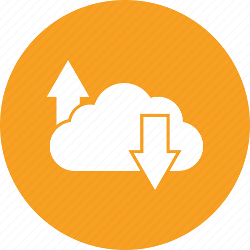 arrows, cloud computing, cloud network, cloud up and downloading icon