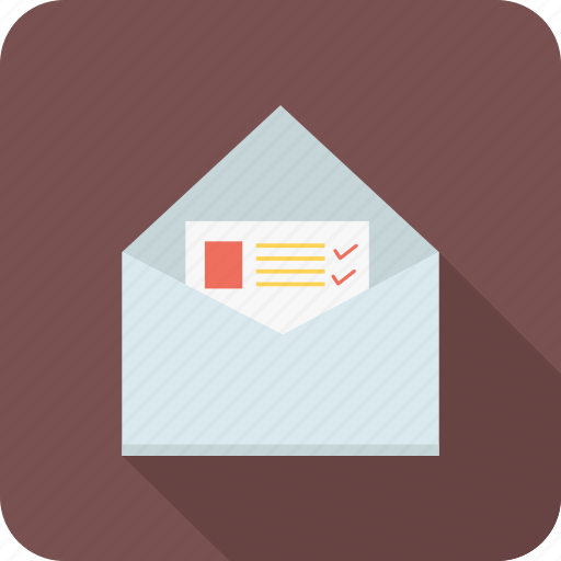 document, envelope, letter, mail, open icon