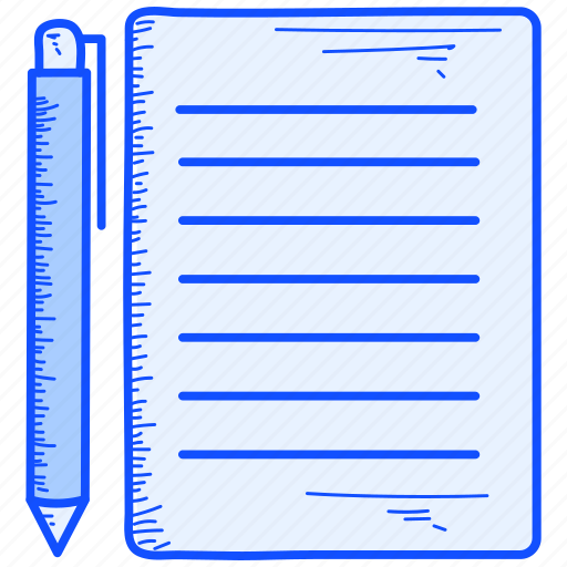 list, paper, pen icon