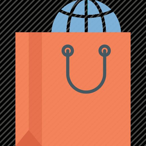 online shopping, shopping bag, world shopping icon icon