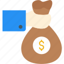 bag, cash, finance, hand, holding, investment, money icon icon