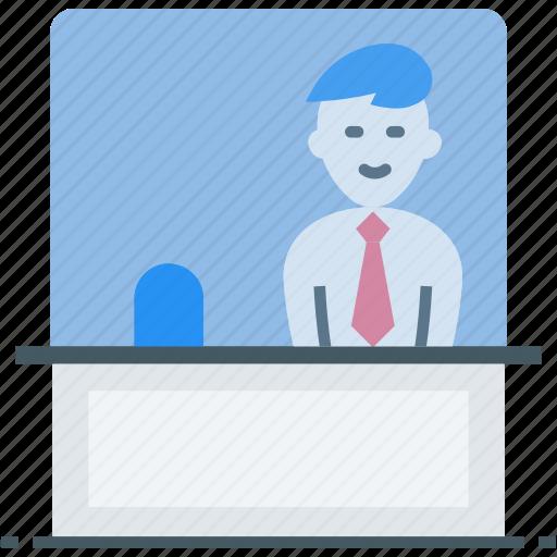 cash counter, cashier, counter, payment counter, reception, reception counter icon icon