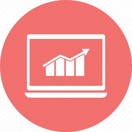 analytics, business, chart, graph, infographic, laptop, monitor icon