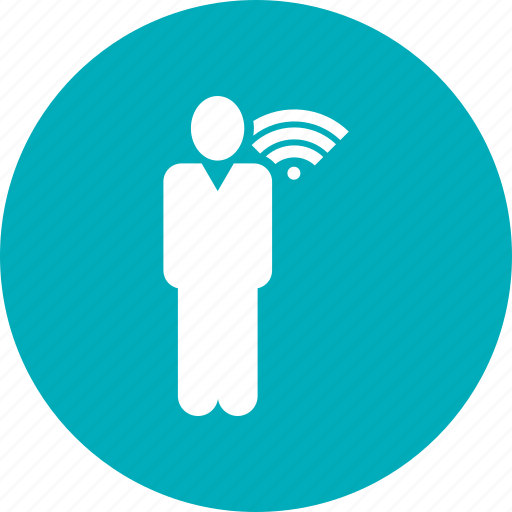 business, location, man, stand, wifi icon