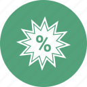 percentage, reduction, star icon