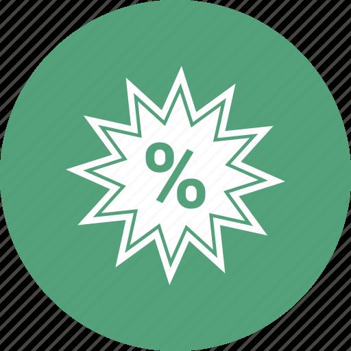 percentage, reduction, star icon