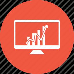 analytics, arrow, graph, grow, growth, monitor icon