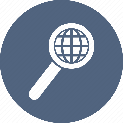 earth, globe, magnifier, search, zoom icon