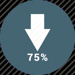 bar, chart, down, increase, sventy five icon