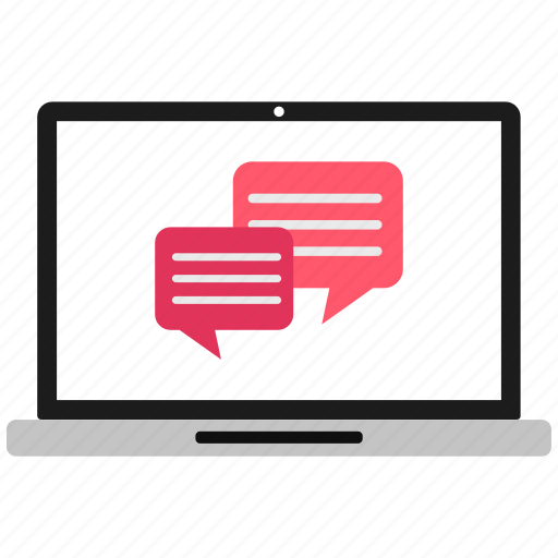 chat, communication, laptop, message, msg icon