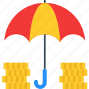 coins, finance, funds, funds protection, protection, safety, umbrella icon icon