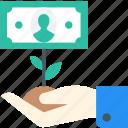 growth, hand, money, plant icon icon