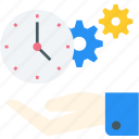 clock, cog & time, event, hand, people, schedule, setting time icon icon