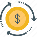 cash, dollar, payment, refresh, reload, sync, turnover icon icon