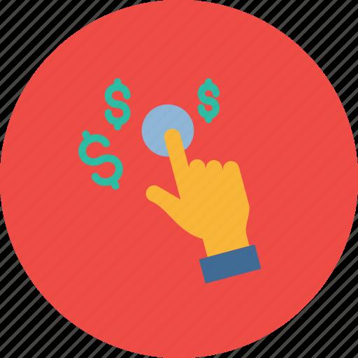 dollar, finance, gesture, hand, management, money icon