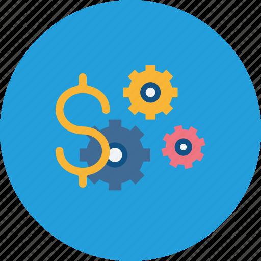 dollar, finance, management, money, optimization, settings icon