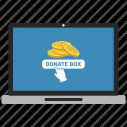 box, coin, dollar, donate, laptop icon