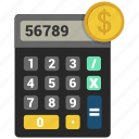 calculator, dollar, machine icon