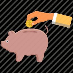 bank, dollar, handcoin, piggy, savings icon