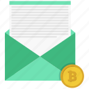 bitcoin, coin, communications, mail, open icon