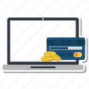 banking, card, laptop, money, pay, payment icon